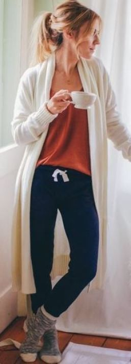 awesome I love the look of these cozy navy jogger sweatpants and cardigan...