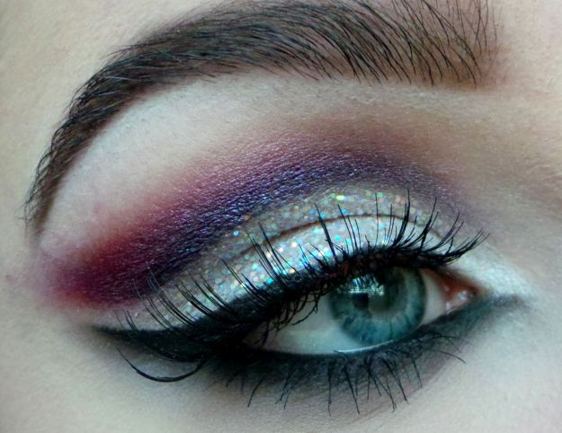 Блестящий макияж для серо-голубых глаз ::: onelady.ru ::: #makeup #eyes #eyemakeup