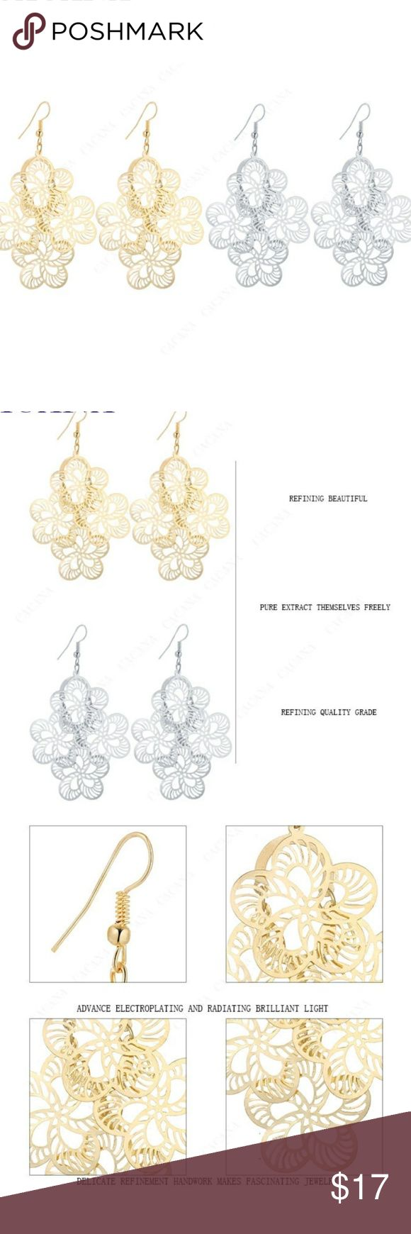 ANY 4 PAIRS FOR $15.  STATEMENT BOHO EARRINGS! Design consists of 4 dangling flowers. Earrings are not heavy so they won't make you feel weighted down & no worries about stretching out your earlobes! Earrings are thin, lightweight Alloy metal. They are priced great! Bundle & save on shipping! Choose Gold or Silver in Options. Once you add 4 pairs to your bundle, submit offer for $15 & it will be accepted! Gold stock# 103 Silver Stock # 203 Jewelry Earrings