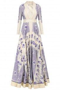 Ivory and Indigo Hand Embroidered Khadi Long Dress