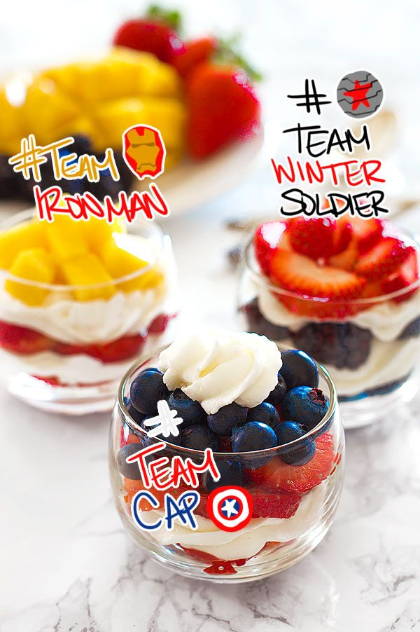 Are you Team Captain America, Team Iron Man, or Team Winter Soldier? Declare your allegiance with these Civil War cheesecake parfaits. Delicious tangy cheesecake whipped cream piped between layers of fresh fruit make a quick and easy Captain America dessert perfect for parties! From BakingMischief.com