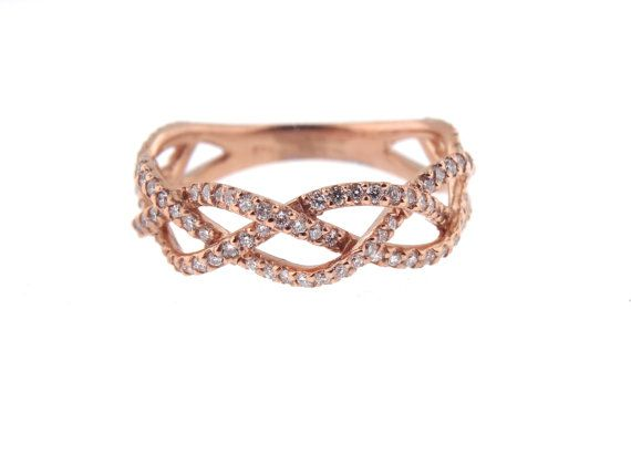 Up for sale is a beautiful 14K Rose Gold Diamond Infinity Anniversary, Wedding, and Stackable Band. Round Brilliant diamond weight 0.75 carats. Color F Clarity SI Specifications: -Model #: SJ1900INFPT -Metal Type: Rose, Yellow, and White Gold -Metal Purity: 14K, 18K, and Platinum