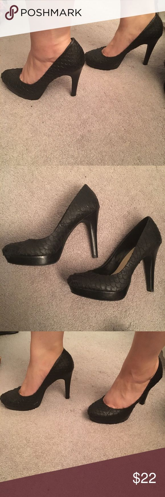 Black fish scale patterned pumps Pre-loved with lots of life left! These super cute pumps have a fish scale pattern that is so fun! Great for a night out on the town with the ladies or date night! Calvin Klein Shoes Heels