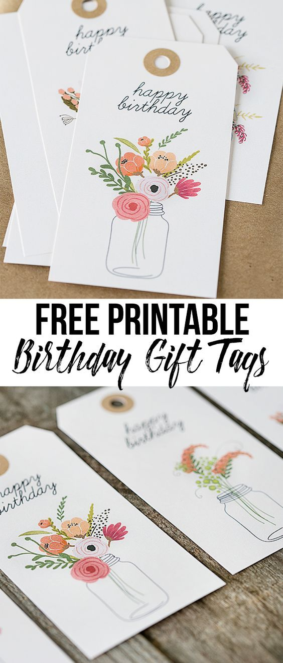 Darling (and free) printable birthday gift tags with beautiful florals. livelaughrowe.com