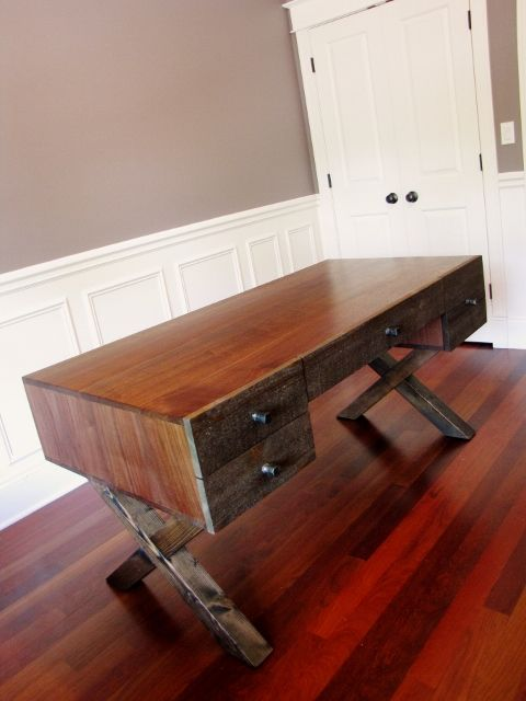 Beautiful Black Walnut Desk With X Style Base