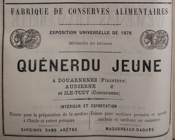 Concarneau. Publicité Quénerdu Jeune, fabrique de conserves alimentaires. 1882.