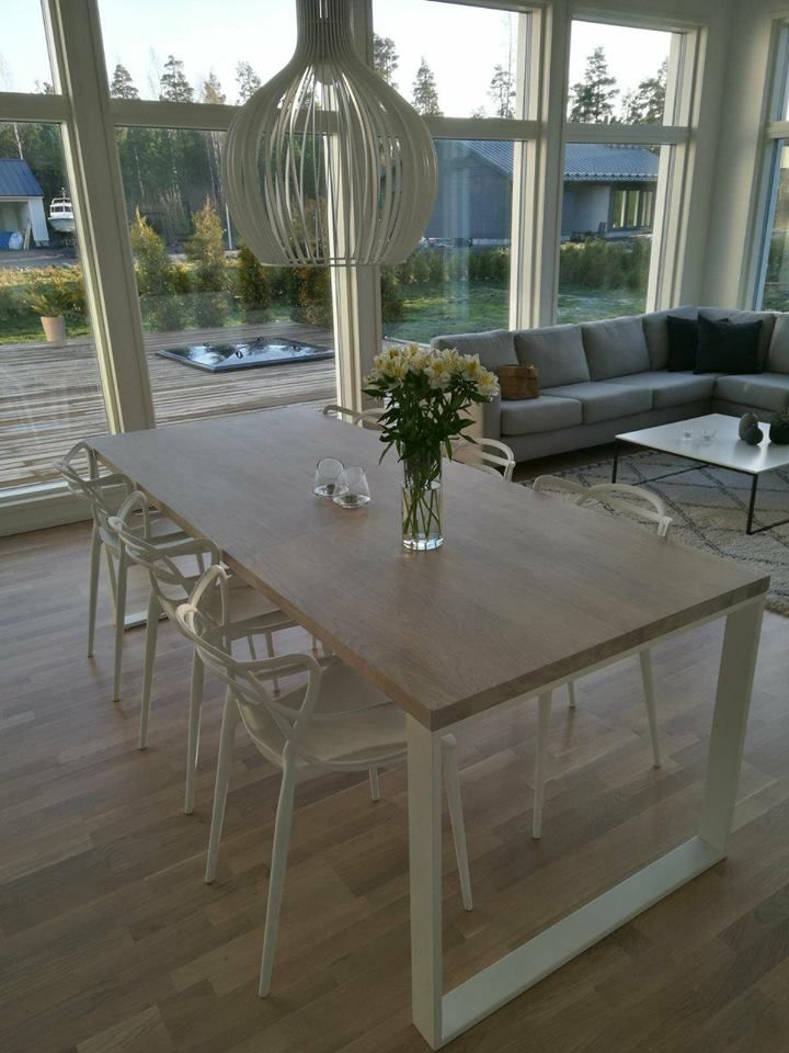 Huge Dining Table Made Of Top Quality Oak Legs Are Powder Coated