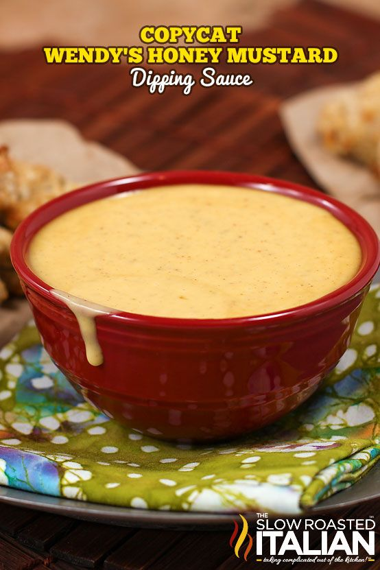 Wendy's Honey Mustard Copycat recipe is sweet, mustardy, and perfectly delicious. And now you can enjoy it at home too! A simple recipe that comes together in a snap it is the only honey mustard you will even need. - See more at: http://www.theslowroasteditalian.com/2013/02/Wendys-copycat-honey-mustard-dipping-sauce.html#more