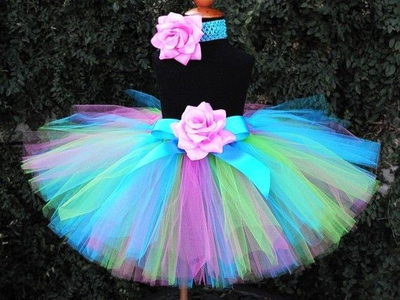 Birthday Tutu Set with Tutu and Headband  Blue Pink by TiarasTutus, $40.00