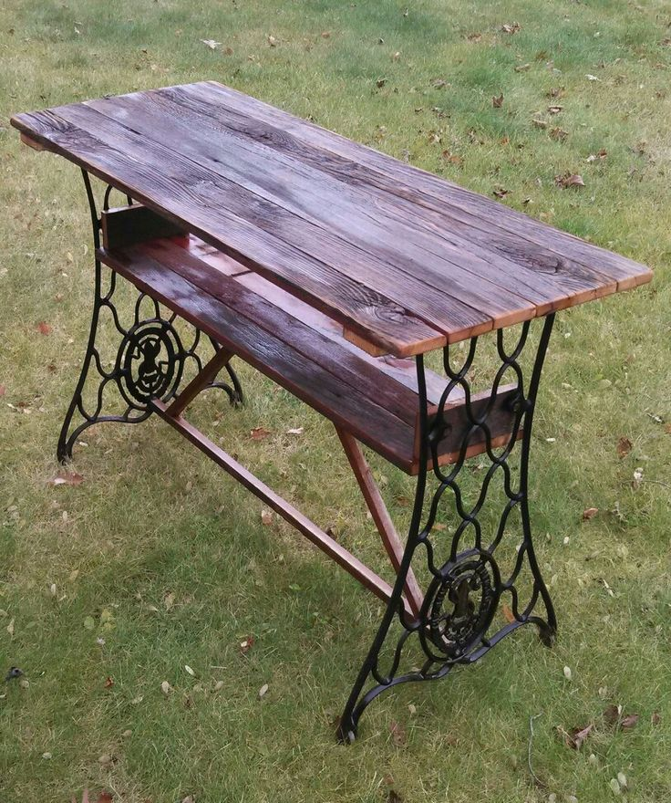 Barn board table I made with antique sewing machine legs.