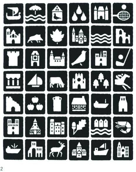 1972 © Jean Widmer - plus de 500 Pictogrammes réalisés pour les Autoroutes de France. Patrimoine naturel, architectural, culinaire, sportif. Projet colossal de mise en cohérence via une schématisation très soignée.
