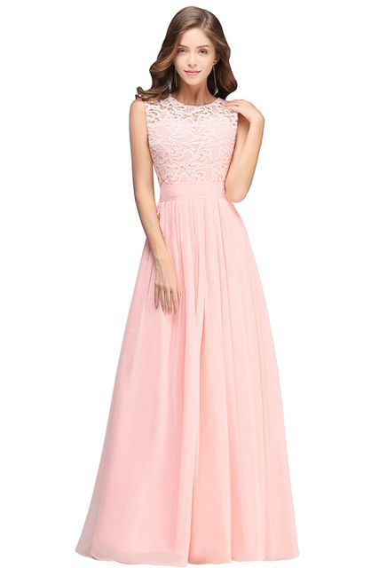 Elegant Light Pink Chiffon Long Prom Dresses 2018 Lace Ruched Floor Length  Formal Party Evening Dresses c182bffc7703