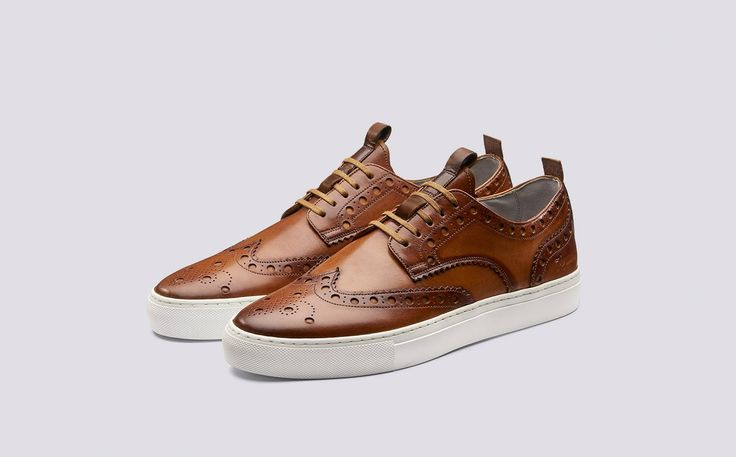 Sneaker 3 | Mens Brogue Sneaker in Tan Hand Painted Calf Leather with a White Rubber Sole | Grenson Shoes - Three Quarter View