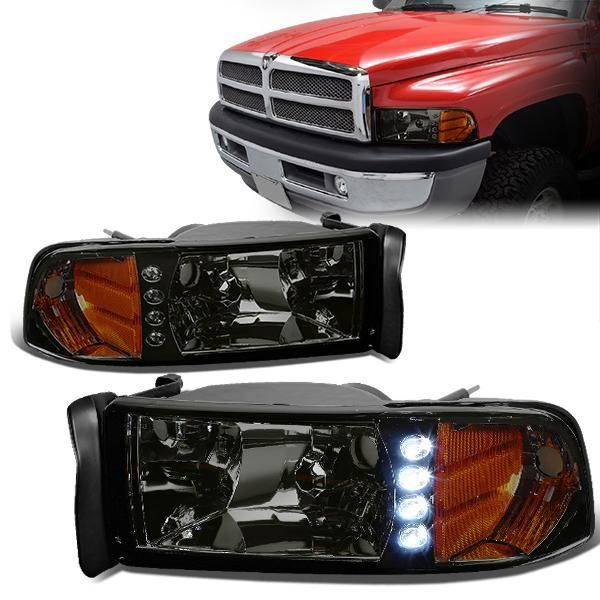 94 02 Dodge Ram 1500 2500 3500 Led Drl Headlights Smoked Housing Amber Corner 1pc Design Dodge Ram Dodge Dodge Ram 1500