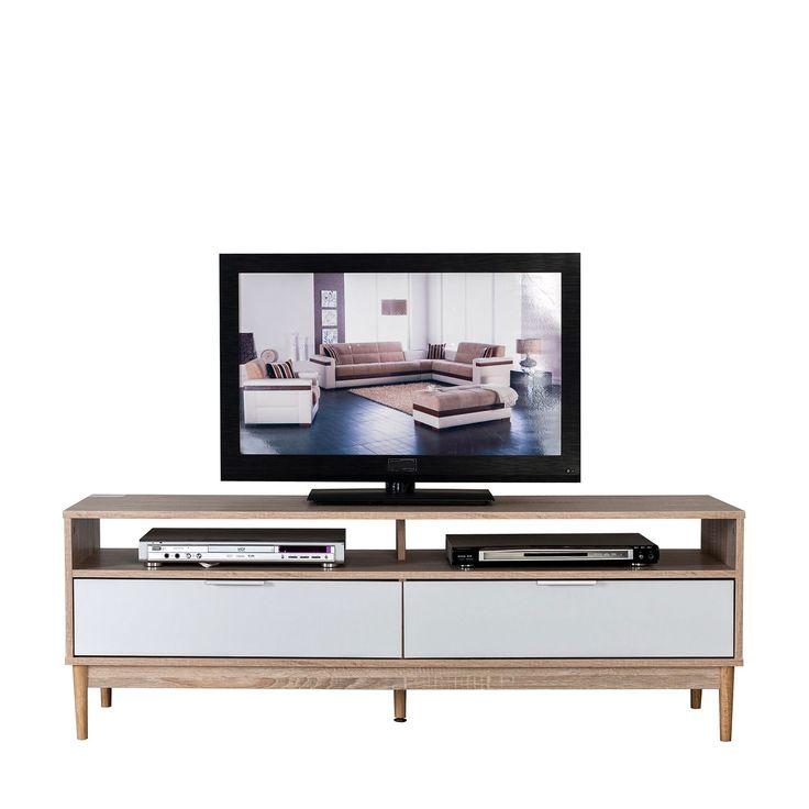 Mesa para televisión, con dos cajones y dos soportes para colocar el reproductor de DVD, el receptor TDT, el decodificador Smart TV, etc. Estructura de MDF tintado en blanco en los cajones, y cubierto con papel impreso imitando del veteado de la madera en el resto. Patas de madera maciza.