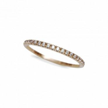 Μοντέρνο γυναικείο ολόβερο λεπτό δαχτυλίδι από ροζ χρυσό Κ14 σειρέ με λευκές πέτρες ζίργκον σε όλο το μήκος | Δαχτυλίδια ΤΣΑΛΔΑΡΗΣ στο Χαλάνδρι #σειρέ #ζιργκον #χρυσο #δαχτυλίδι