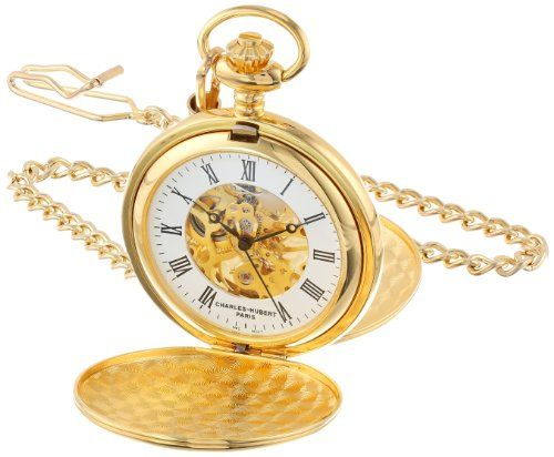 Best price on Charles-Hubert, Paris Gold-Plated Mechanical Pocket Watch See details here: http://bestapparelreview.com/product/charles-hubert-paris-gold-plated-mechanical-pocket-watch-2/ Complete with double-sided, engravable cover and skeleton dial, the Charles-Hubert, Paris Gold-Plated Mechanical Pocket Watch #3575-G is an heirloom-quality timepiece with a contemporary edge. A 14K gold-plated brass case and matching curb chain look classic and elegant next to a crisp white outer dial…
