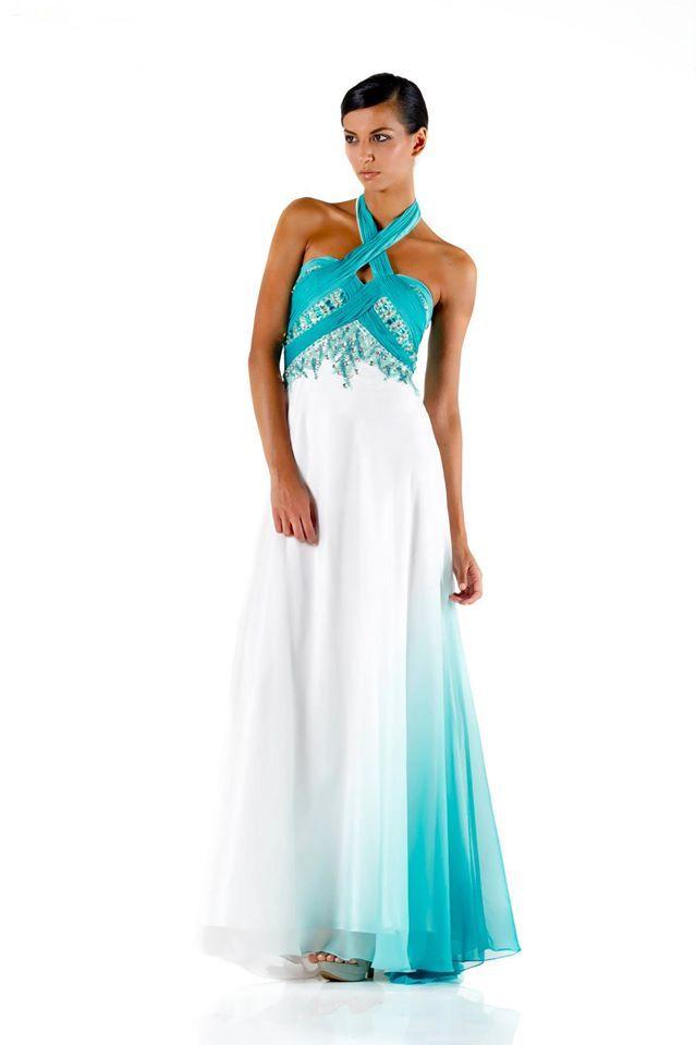 #glamour #fashion #springsummer 2014 #woman #girl #cocktaildress  #partydress #dress #longdress #abitoelegante #elegance #white #blue