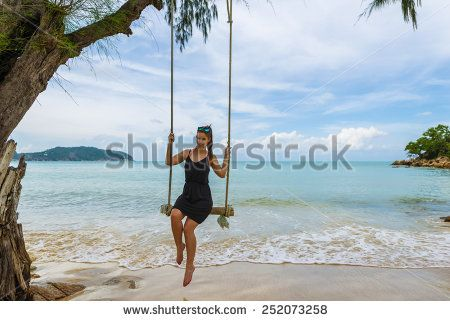 Beautiful Caucasian Woman On Wooden Swing Tied To A Tree With Ropes, Enjoying Herself On A Tropical Beach In Thailand, Koh Phangan Stock Photo 252073258 : Shutterstock #thailand #stockphoto #thailandphoto #stockimage #thailandstock #island