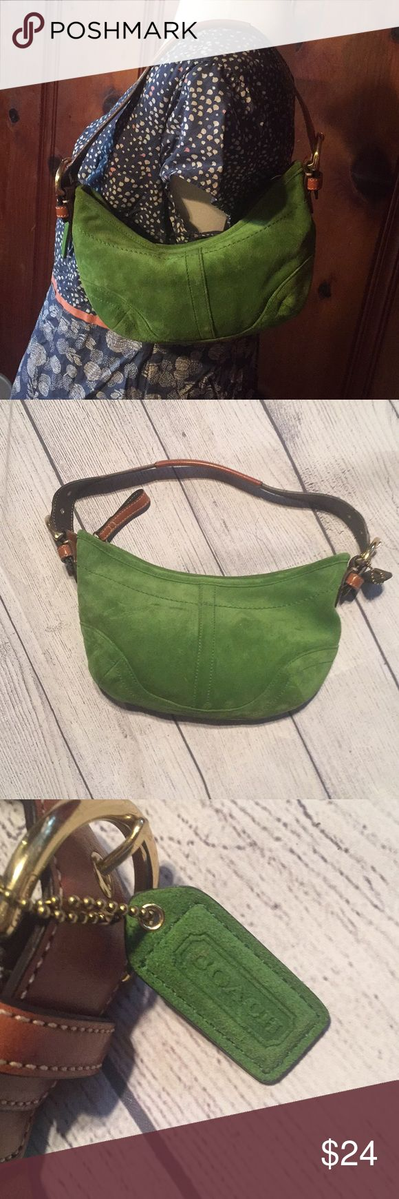 Small Green Suede Leather Coach Hobo Bag Authentic in excellent preloved condition. Any questions, just ask! Coach Bags Hobos
