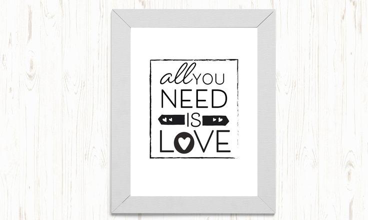All you need is love printable, love printable, friendship printable, typography printable, love digital print, love black n white print by ThePrintableCorner on Etsy