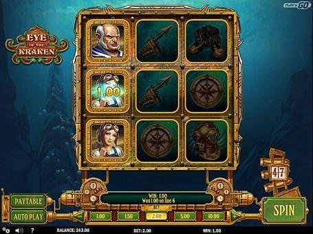 Ігровий автомат Eye of the Kraken з виведенням грошей  Eye of the Kraken - апарат на морську тематику, випущений компанією Play'n Go. Цей автомат має всього 3 барабана і 8 ігрових ліній. Вас чекає регулярний виведення грошей за рахунок фріспінів, бонусного режиму та інших особливостей.