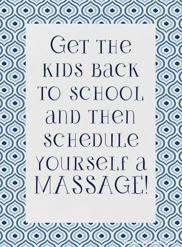 It's that time of year again...parents shopping for clothes, school supplies, and trying to get the kiddos back in school again. Make sure you're making the most of the back to school madness and taking care of your clients by offering bac...k to school specials to help parents take a load off! #massage #back to school #spa #wellness #health