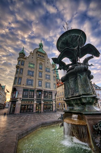 Amagertorv Square, located on the popular pedestrian street Strøget. This was takin early in the morning before anybody was out shopping