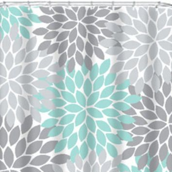 Coral Aqua Gray SHOWER CURTAIN Flowers Custom MONOGRAM Personalized Floral  Burst Bathroom Decor Bath Beach Towel