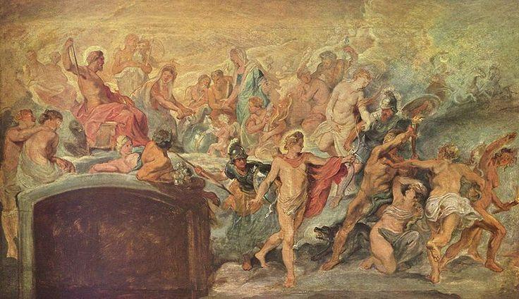 1622.Gemäldezyklus für Maria de' Medici, Königin von Frankreich, Szene: Die Blüte Frankreichs unter der Regentschaft Marias von Medici, Skizze.Peter Paul Rubens.oil on canvas.55 × 92 cm.Alte Pinakothek.