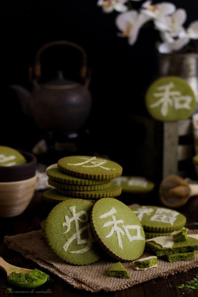 Galletas de té matcha con chocolate blanco | Con aroma de vainilla