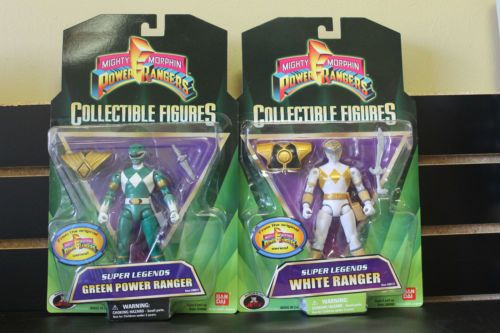 Mighty Morphin Power Rangers Super Legends MOC White and Green Rangers RARE