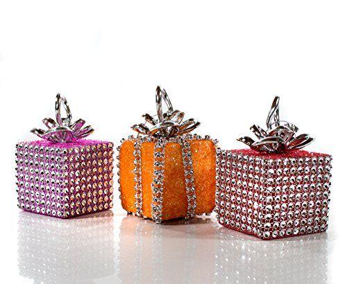 """3er Set Baumschmuck Motiv """"Weihnachtsgeschenk"""", mit Strass, Farben: rot, orange und pink, Maße: 6 x 6 x 6 cm, Weihnachtsschmuck, Weihnachtsbaumkugeln finde hier noch mehr http://www.woonio.de/p/3er-set-baumschmuck-motiv-weihnachtsgeschenk-mit-strass-farben-rotrosa-orange-und-pink-masse-6-x-6-x-6-cm-weihnachtsschmuck-weihnachtsbaumkugeln/"""