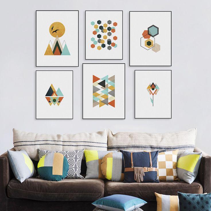 現代抽象幾何学的形状バードマウンテン日キャンバスA4プリントポスター北欧ウォールピクチャーリビングルームのインテリアなしフレームを塗装しません