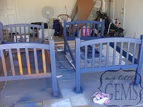 Spray painting bunk beds (think its cheaper to paint) (: