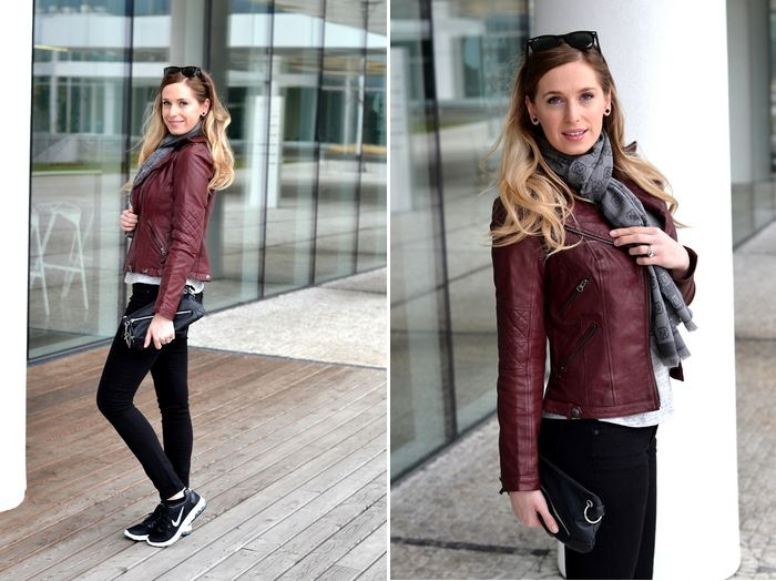 gucci scarf, burgundy leather jacket