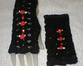 15% Off Sale Crochet Womens Teens Black Ebony Suede Red Roses Gauntlets Fingerless Gloves