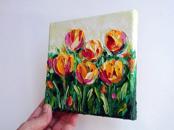 Tulip Flower Still Life Original Oil Painting by NuFineArt5