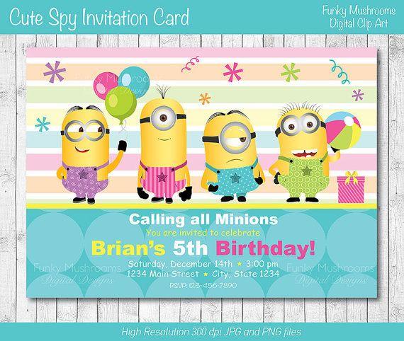 Minion Invitation Card Printable By Funkymushrooms On Etsy 6 20