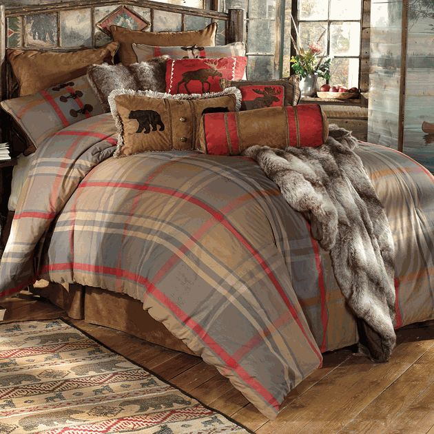Mountain Trail Plaid Moose & Bear Bed Set from Black Forest Decor