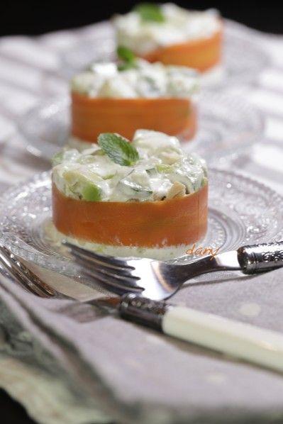 Préparation : 20 min Cuisson : 5 min Pour 4 personnes : -1 carotte -1 gros avocat -1 concombre -1 oignon tige -1 cuillère à soupe de menthe ciselée   quelques feuilles -200 g de fromage blanc crémeux -100 g de Philadelphia -Sel, poivre Épluchez la carotte...