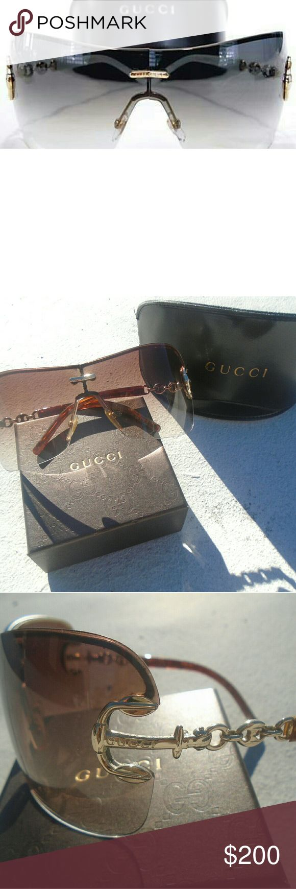 GUCCI SUNGLASSES GG 2771/S GUCCI SUNGLASSES VIOLET WITH GOLD LINK ARMS  GG 2771 PRE-LOVED MINOR UN VISIBLE SCRATCH PICTURED SUGGESTED SELLER  SHOP WITH CONFIDENCE!  SAME DAY SHIPPING Gucci Accessories Glasses