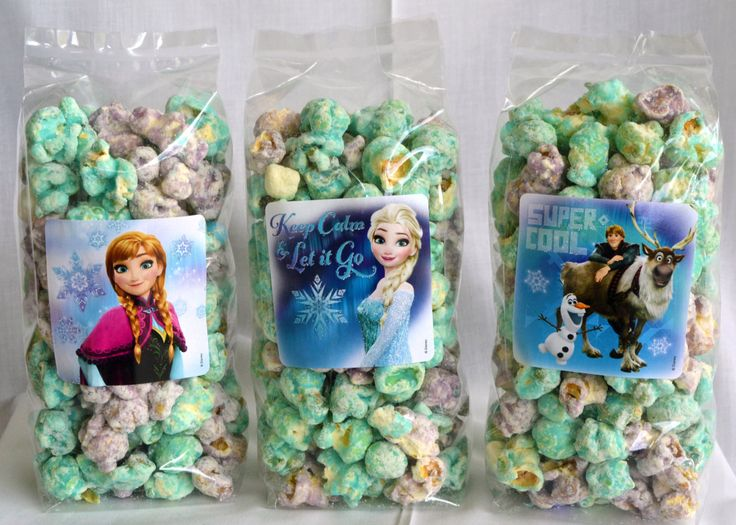 Frozen Gourmet Popcorn Favor Bags set of 10 by PopCentralPopcorn on Etsy