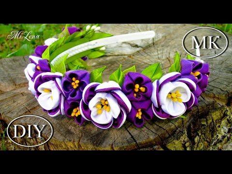 Aros con perlas, encajes y taller de flores kanzashi - YouTube