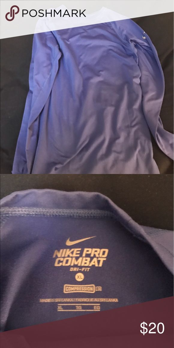 Blue Nike heat shirt Blue Nike pro combat dri fit shirt size XL. Nike Shirts Tees - Long Sleeve