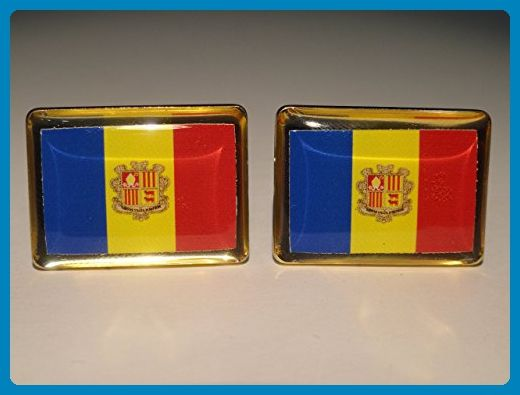 Andorra Flag Cufflinks - Groom cufflinks and tie clips (*Amazon Partner-Link)