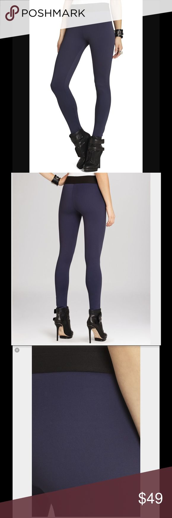 "BCBG Mason Navy Blue Skinny Pant Leggings sz XS High waist, pull-on, size XS, fabric: 77% rayon/18% nylon/5% spandex ponte, washable, color: navy, new with BCBG tag that says ""returns not excepted without this tag"" but the main tag (indicating style and price) is not included.  NEEDS TO GO - Will be unlisted Nov 19th!!! BCBG Pants Leggings"