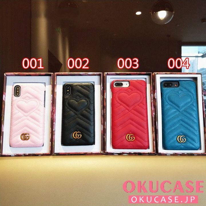 online store 49956 3b356 iphonex/7 ソフトケース ジャケット型 ハート付き グッチgucci ...
