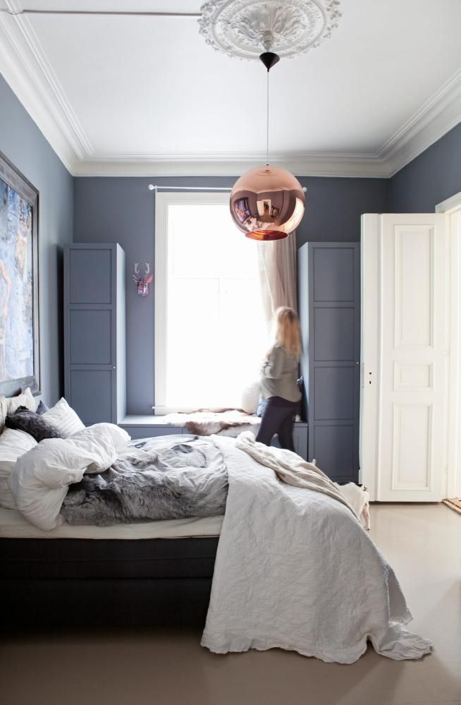 Love the paint colour (Dulux Strap-ish), Tom Dixon pendant in such a traditional setting, great bedding too.