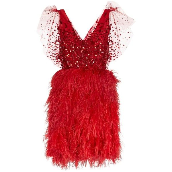 Jenny Packham Embellished Feather Dress (£3,920) ❤ liked on Polyvore featuring dresses, red sequin cocktail dress, short dresses, red mini dress, short red cocktail dress and mirror dresses